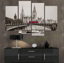 Modular pictures 4 Piece Retro Style London Red Bus Canvas Print Canvas Painting Home Decor Wall Art Picture for Living Room