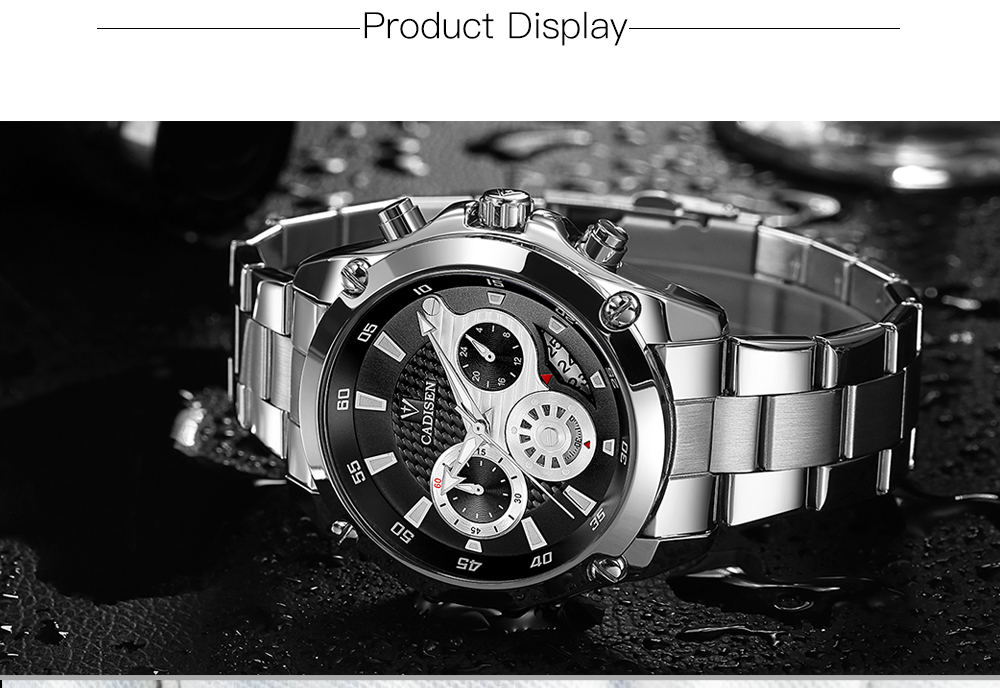 Top Brand Luxury CADISEN Mens Watch Full Steel Sport Watches Fashion Quartz Military Wrist Watch Relogio Masculino Waterproof 7