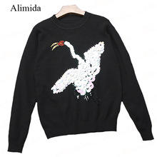 2017 Spring New Fashion Women Sweater Sequined Beading Swan Knitted Pullovers Full Sleeve O-Neck Outwear