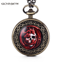 GORBEN Brand Red Flame Dragon Twining Around the Skull Design Carving Pocket Watch Mens Waist Chain Vintage Quartz Watch Women