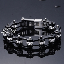 Trendy classic link chain Bracelets Bangles black silver cool  motorcycle chain bracelets Top 316L stainless steel YM073