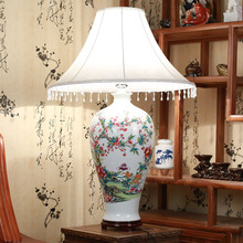 Vintage chinese porcelain ceramic table lamp bedroom living room wedding table lamp Jingdezhen italian table lamps(China)