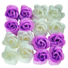 16 Pcs Handmade Rose Scented Bath Soap Petals White Purple(China)