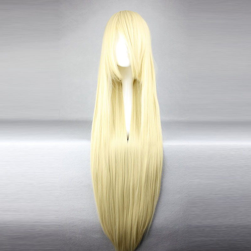 MCOSER Harajuku Women 100cm Long Soft Gold Straight Synthetic Fashion High Temperature Fiber Party Lolita Cosplay Full Wig<br><br>Aliexpress