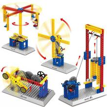 Mechanical Engineering windmill lift Carousel Building Blocks DIY Kids Science Educational Brick Toys Compatible(China)