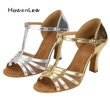 Latin Dance Shoes Women Adult Girls Ballroom Salsa Dancing Shoe Suede Soft Bottom Gold/Silver Plus Size 33-43 High Heels Shoes