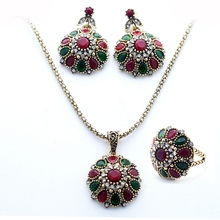 Flower charm Fashion Jewelry Sets EU/US Women's Necklace Vintage Luxury Earrings Resin Stones Rings Fine Gifts YUN0508(China)