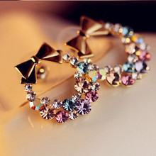 Fashion Colorful multicolor rhinestone circle bow bowknot stud earrings for women girls E079(China)