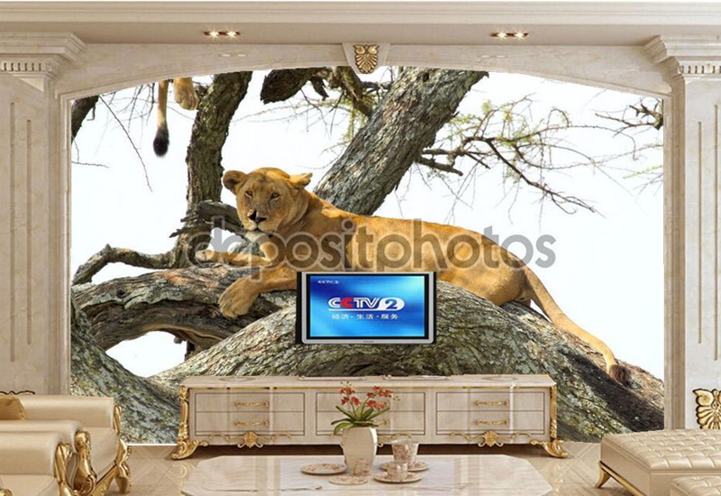 Large 3D murals wallpapers,The African lion on the tree wallpaper,living room sofa TV wall bedroom papel de parede<br>