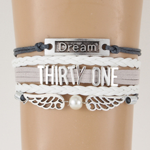 Drop shipping Infinity love Thirty One Bracelet & Bangles Lucky Number Braided Dream Wings Charm Wrap Jewelry For Women Men
