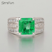 Classic Style 2.64Ct  Emerald Gemstone Ring With Natural Diamond Stamped By  Pt900 Platinum Anniversary Ring For Women