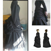 HistoricalCustomer-made Black 1800S Victorian dress 1860s Civil war Dress Vintage Costumes Southern Belle Prom Gown US6-36 V-350