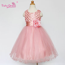 Baby Kids 1-12 Year Girls Sleeveless Princess Dress Party Clothes Red Pink Solid Vestido(China)