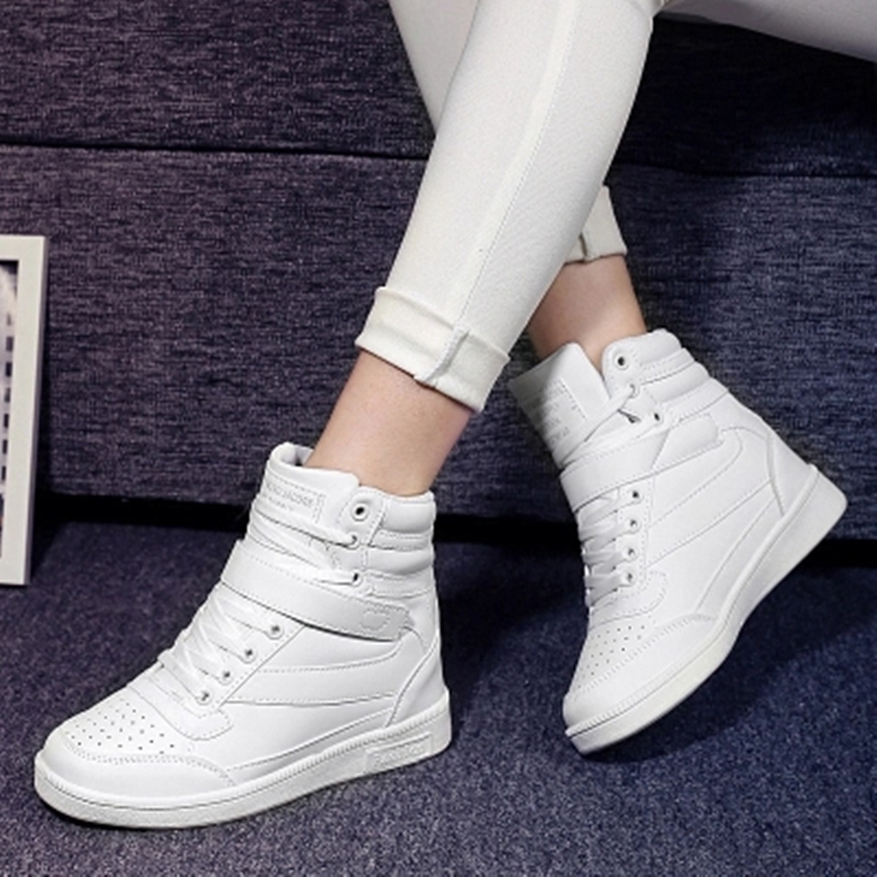 2017 autumn and winter high heels ankle boots women casual shoes increased the wedge heel wedge shoes high-top mixed<br><br>Aliexpress