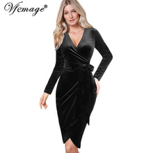 Vfemage Womens Autumn Winter Elegant Sexy V Neck Belted Long Sleeve Work Business Party Bodycon Pencil Sheath Wrap Dress 8440(China)