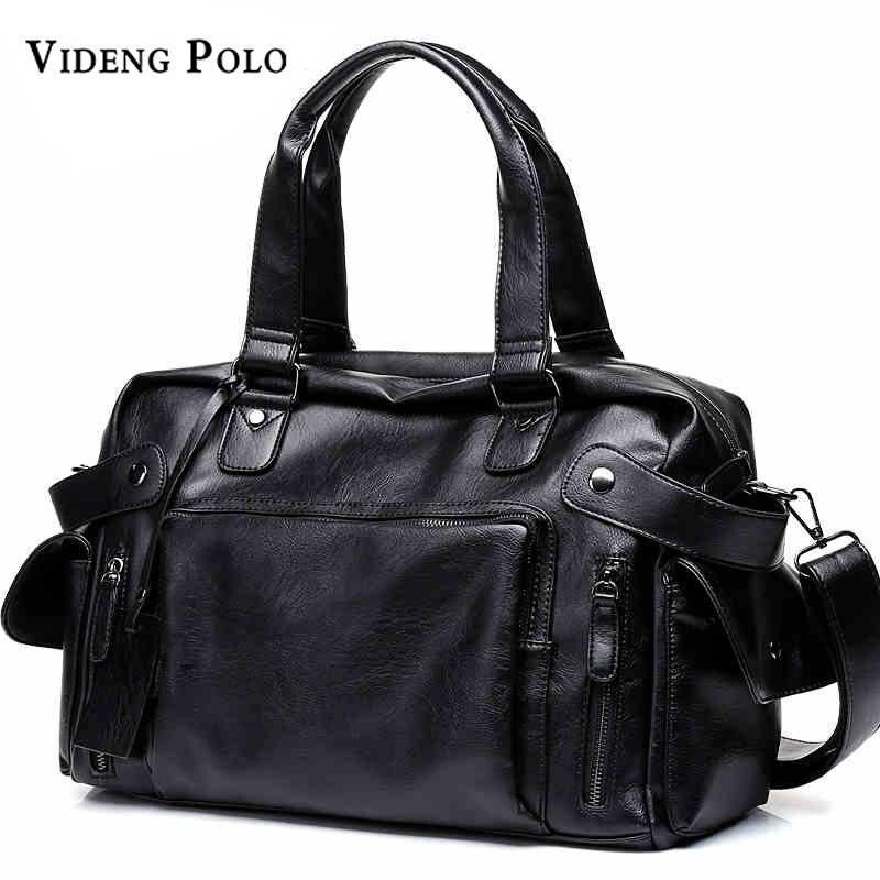 VIDENG POLO Brand High Quality Men Travel Bag Leather leisure Male Handbag Vintage Shoulder Bag Men Messenger Duffel Tote Bag<br>