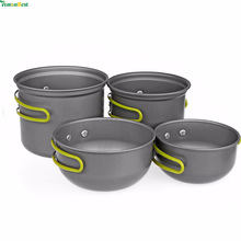 Outdoor Camping Pot and Pan Set Cookware Mess Kit 5 Piece Backpacking Gear Hiking Cook Set Bowls With Oxford Bag For 2-3 People