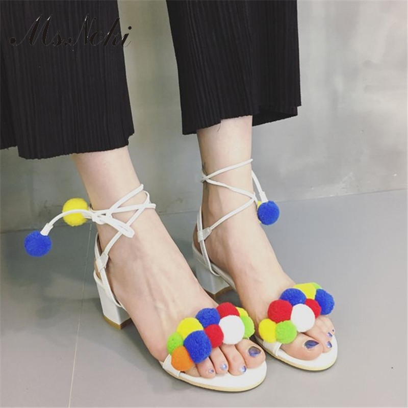 Ms.Noki Colorful Fluff Balls women summer sandals thick med heels cross lace up casual beach shoes woman beaded Gladiator pumps<br><br>Aliexpress