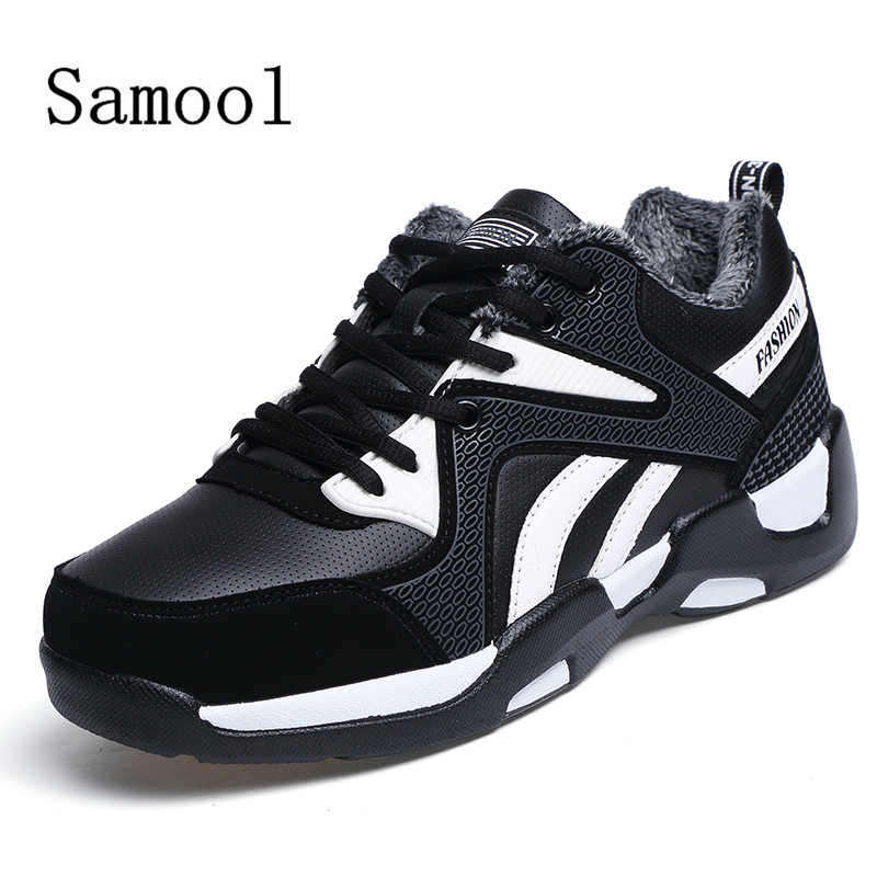 SAMOOL 2017Winter New Couples Fashion Casual Shoes Lace Up Flats Shoes Adult Round Toe Outdoor Solid Leather Shoes For Couple<br>