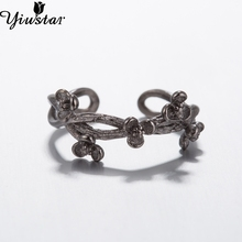 Yiustar Jewelry Fashion Ring Grace Twig Ring Adjustable Branch with Bloom Flower Ring Ring for Women SYJZ109(China)