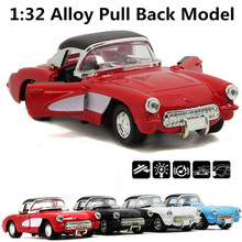 1:32 vintage cars alloy model sound and light back to power car model, high simulation ornaments, free shipping