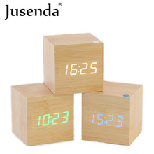 LED Cube Wooden Clock Electronic Table Clock Digital Desk Voice Control Watch Nixie Radio For Children Bedside Alarm Clock