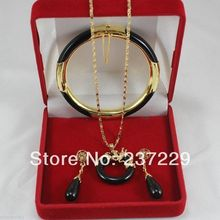 Wholesale price FREE SHIPPING ^^^^Fashion -plated Jewelry natural Black Onyx bracelets pendants earring