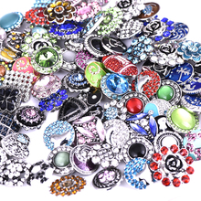 Wholesale 50pcs/Lot Mix 18mm Metal Snap Button Charm Rhinestone Ginger Button For Snap Fit DIY Snap Bracelets&Bangles Accessory