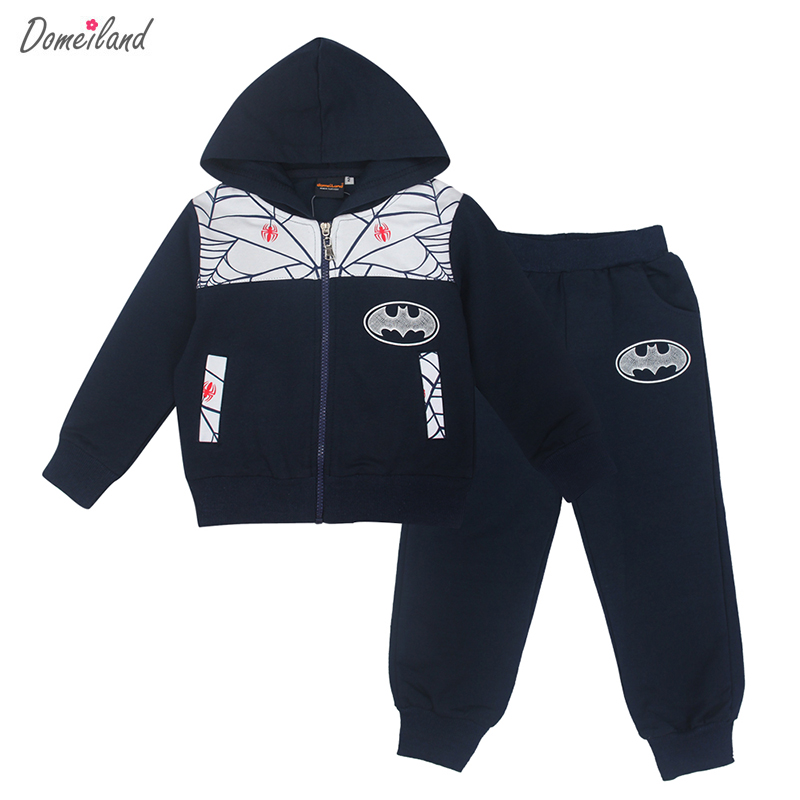2017 fashion new brand domeiland Children boy clothing 2pcs kids cartoon sport hooded cotton jackets pant clothes tracksuits<br>