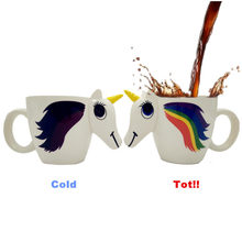 3D Colour Changing Unicorn Mug Novelty Cup Transformation Colors For Tea&coffee&Water(China)