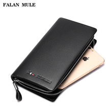 FALAN MULE New Brand Fashion Male Clutch Genuine Leather Men Wallet Luxury Purse Leather Wallet Men Clutch Bag Phone Card Holder