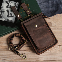 Men Genuine Leather Waist Bag Crazy Horse Leather Travel Fanny Pack Belt Loop Hip Bum Bag Casual Phone Pouch Waist Pouch WB2011