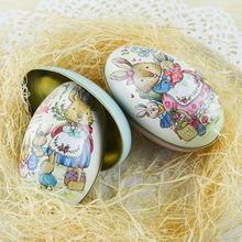 1Pcs Mini Easter Egg Painted Eggshel Tin Boxes Pills Case Wedding Candy Box Can Jewelry Party Accessory 9 Styles