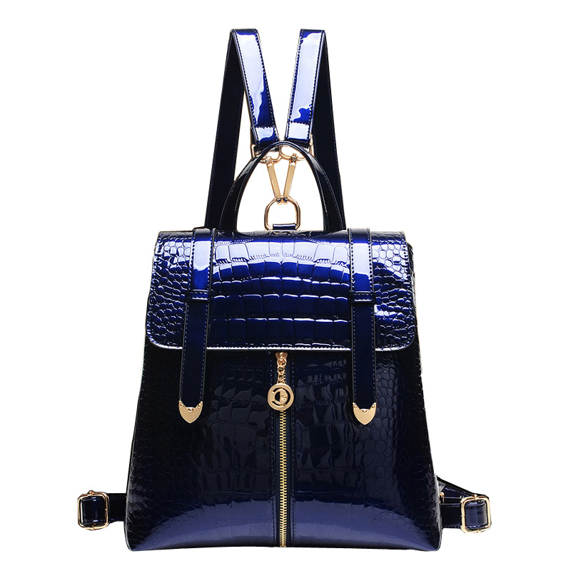 Hot 2017 School Backpack Women Fashion  Alligator Grain Backpack Girl Casual Vintage Patent Leather  Womens Backpack Bag<br><br>Aliexpress