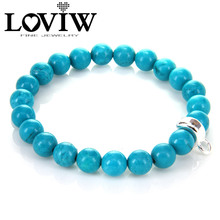 Buy New Turquoise Bead Charm Bracelet silver Charm Carrier, Jewelry Gift Women European Style LOVIW stone jewellery for $9.50 in AliExpress store
