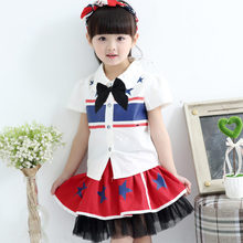 Free shipping kids girls clothes suit clothes shirts and skirts with bow tie american flag dress shirts clothing for children