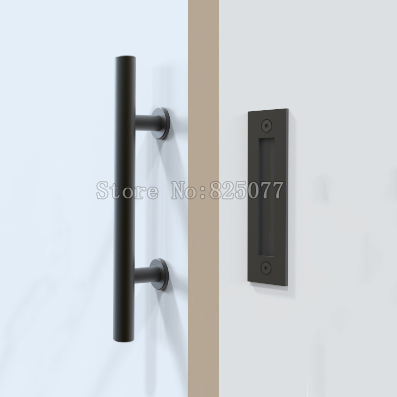 1PCS Black Stainless Steel Barn Door Handle Slidin...