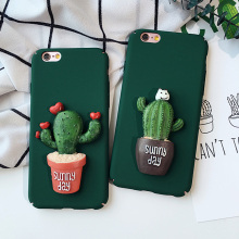 Clespruce Green Cactus 3D Luxury Hybrid plastic Hard Case Cover Skin For iPhone 8plus 7 6 6S Plus 5S SE cute Cactus Sunny day(China)