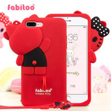 For iPhone 7 7 Plus 3D Cute Cartoon Fabitoo Hello Kitty bowknot Phone Case Soft Silicone Rubber Back Cover With Lanyard