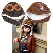Cute Boys Girls Hats Children Pilot Hat Baby Aviator Hats Ear Flaps Ceanie Kids Cap Infant Winter Warm Caps 2Colors(China)