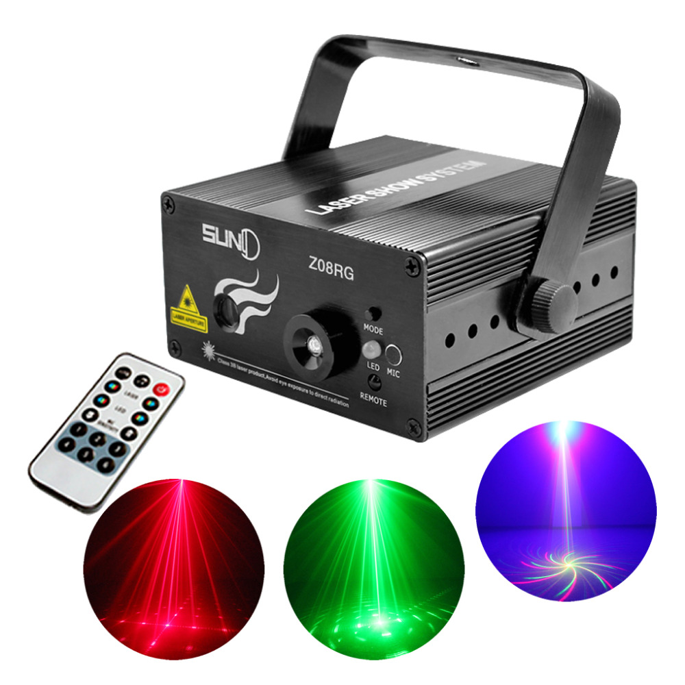 AUCD 8 Big Patterns RG Laser Projector Stage Equipment Lights 3W Blue LED Mixing Effect DJ KTV Show Holiday Stage Lighting L08RG<br>