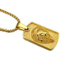 Stainless Steel gold silver color dog tag lion Pendant Necklaces hip hop 60cm long chain Men necklace fashion jewelry(China)
