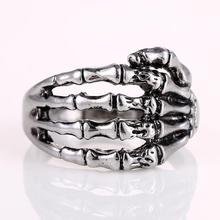 Christmas Gift Alloy Metal Silver Men's Punk Skull Head Finger Rings Jewelry Men's Fashion