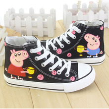 new season kids sneakers high top peppa pig fashion girls pictures casual canvas shoes princess flats cartoon  hand craft