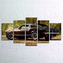 Modern Wall Art Canvas HD Printed Painting Framed 5 Pieces 1970 Ford Mustang Posters Sports Car Pictures Home Decor Living Room(China)