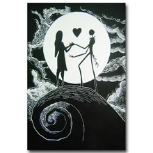 The nightmare before christmas Art Silk Poster Canvas Print 13x20 24x36inch Tim Burton Cartoon Movie Picture for Home Decor 007