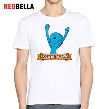 REDBELLA Men T-shirt Rick Sanchez Mr Meeseeks Funny Cute Humorous Cartoon Anime Camisas Masculina Printing Cotton Clothing Tees(China)