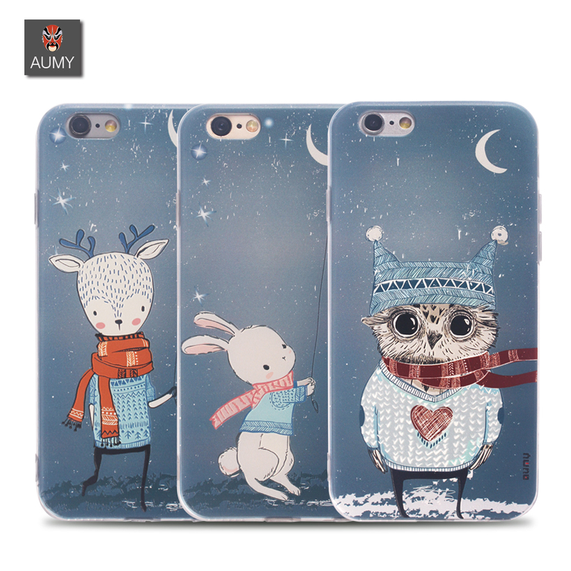 Cute 3D Cartoon Pattern Coque For iphone 6 Case Aumy Glitter Pc Back Cover Soft TPU With Dust Plug For iphone 6s Plus Case Coque(China (Mainland))