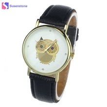 Vogue Cute Cartoon Owl Watch Women Quartz Wrist Watch 2017 New Fashion Leather Band Casual Ladies Watches montre femme Reloj(China)