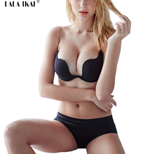 2016 Brand Push Up U Plunge Bra Black Sexy Bandage Deep V Neck Backless Invisible Bra Wedding Club U Plunge Bra SWA0057-5(China)